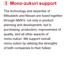 3.Mono-zukuri support The technology and expertise of Mitsubishi and Nissan are fused together through NMKV, not only in product planning and development, but in purchasing, production, improvement of quality, and all other aspects of Mono-zukuri. We support overall Mono-zukuri by utilizing the strengths of both companies to their fullest.